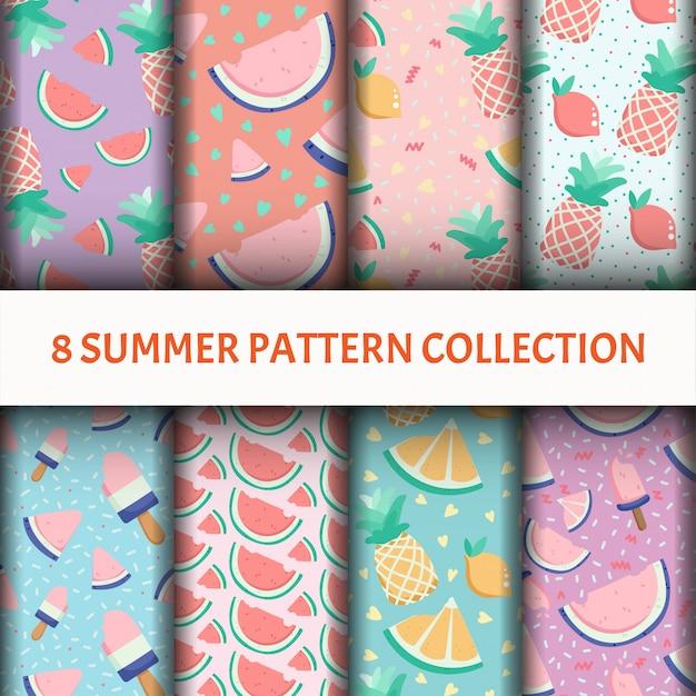 Fruit pattern sertie de glace Vecteur gratuit