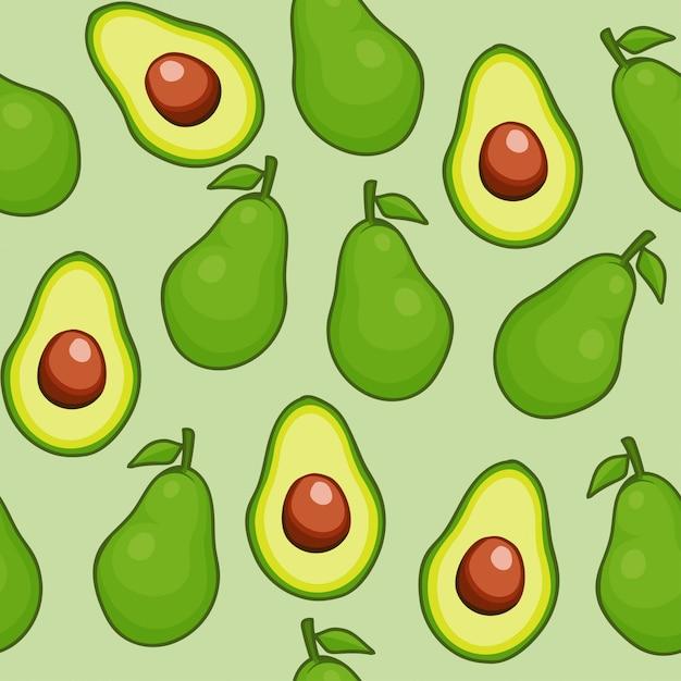 Fruit sans soudure d'avocat Vecteur Premium