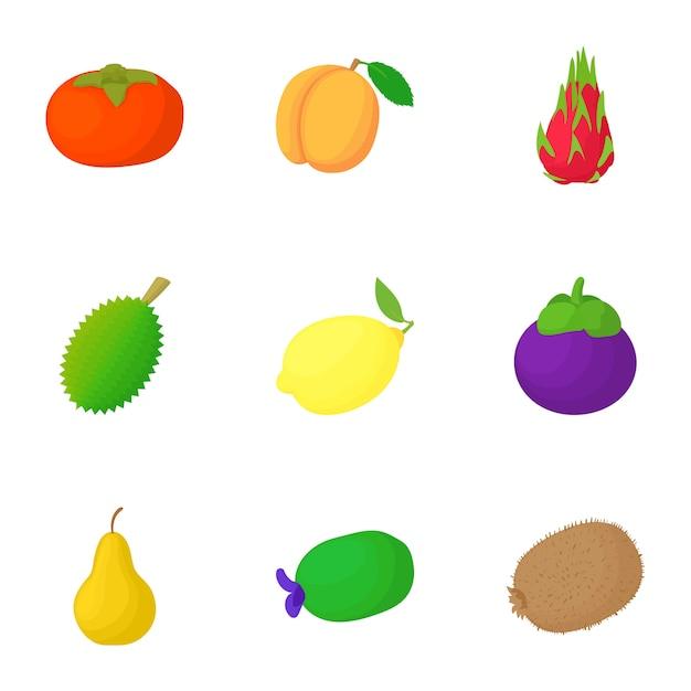 Fruit set, style de bande dessinée Vecteur Premium