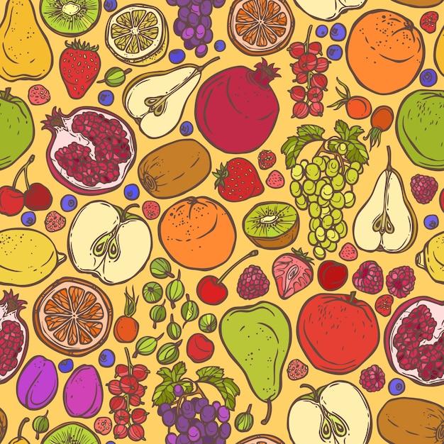 Fruits Et Baies Dessinent Un Motif Sans Couture Vecteur Premium