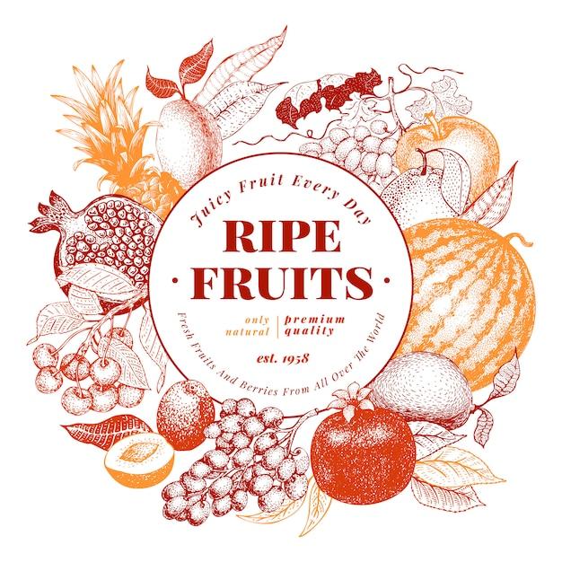 Fruits et baies à la main dessinés illustration vectorielle de fond. Vecteur Premium