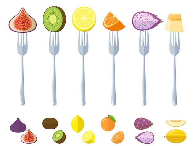 Fruits Crus Juisy Frais Sur Les Fourches Vecteur Premium