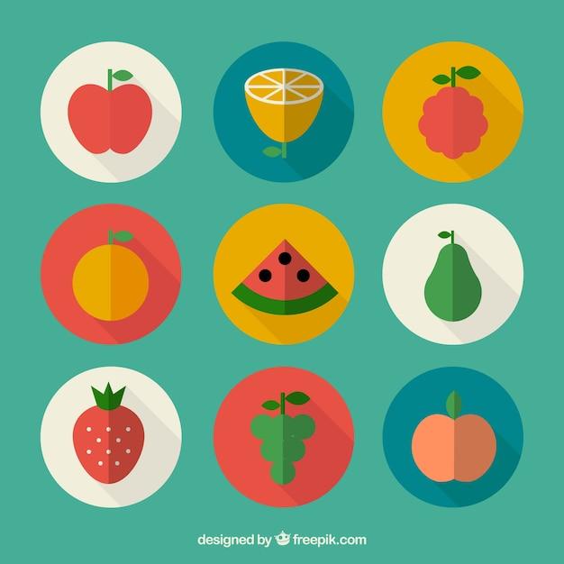 Fruits à design plat Vecteur gratuit