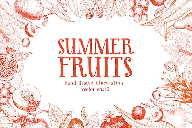 Fruits dessinés à la main vector background. Vecteur Premium