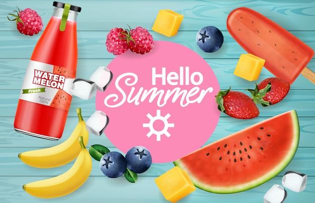Fruits d'été et jus de fruits Vecteur Premium