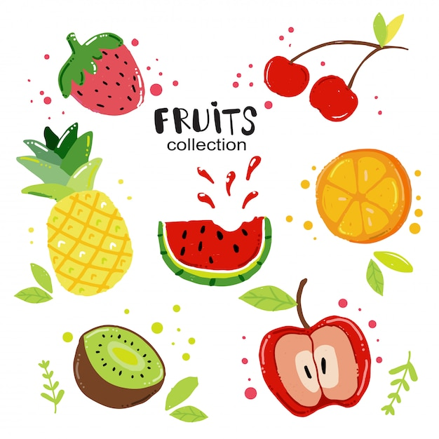 Fruits d'été set vector plate Vecteur Premium