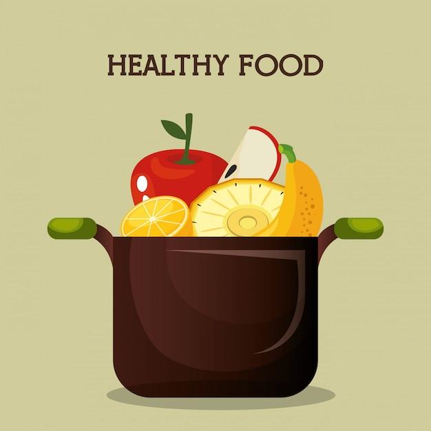 Fruits frais aliments sains Vecteur gratuit