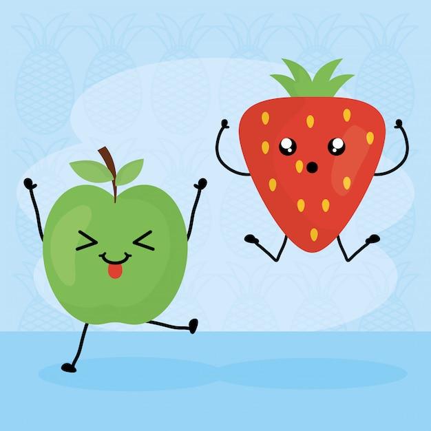 Fruits frais caractères kawaii Vecteur Premium