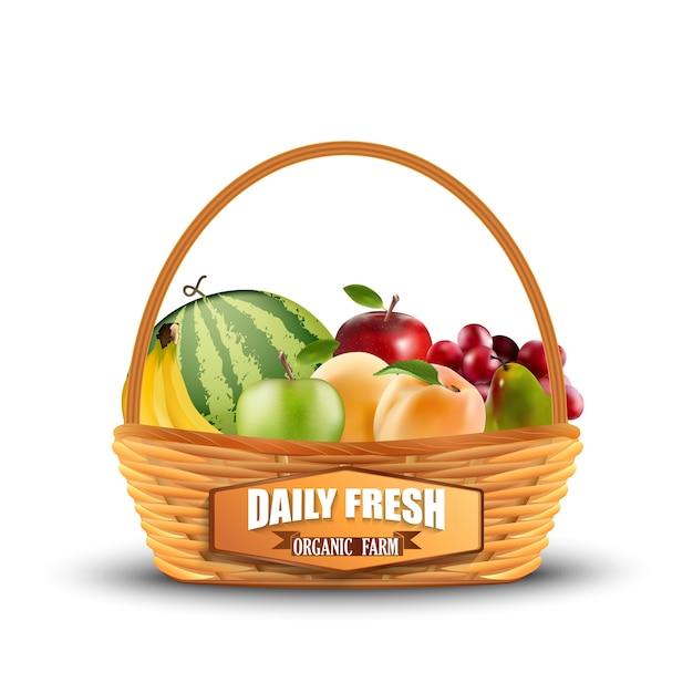 Fruits frais dans le panier en osier isolé sur blanc Vecteur Premium