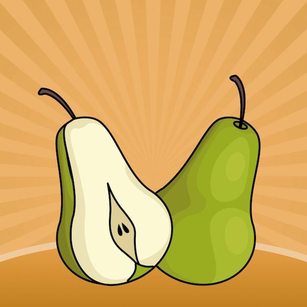 Fruits frais poires coupées en demi Vecteur gratuit