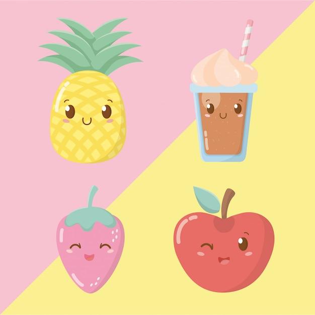 Fruits frais et sorbets personnages kawaii Vecteur Premium