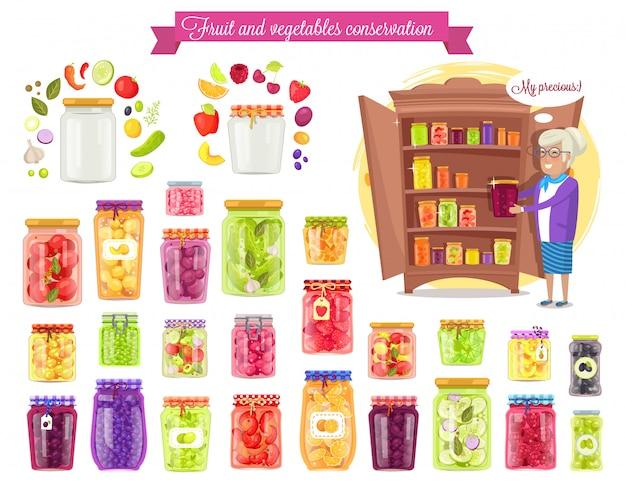 Fruits, illustration vectorielle de conservation des légumes Vecteur Premium