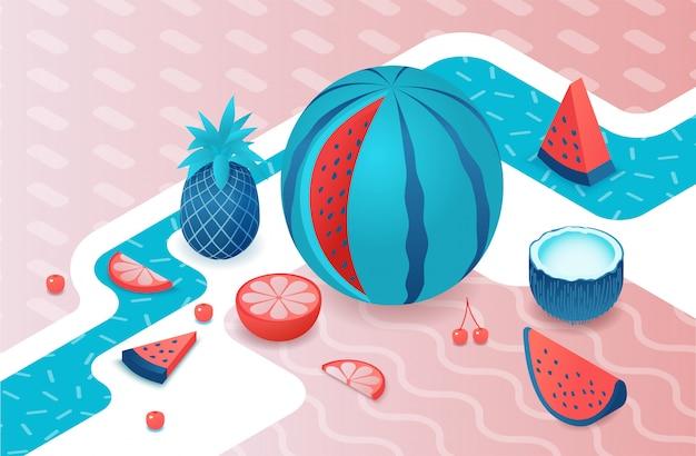 Fruits Isométrique Sertie De Melon D'eau Vecteur Premium