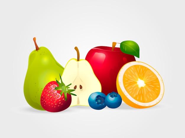 Fruits juteux et baies isolés sur fond blanc. Vecteur Premium