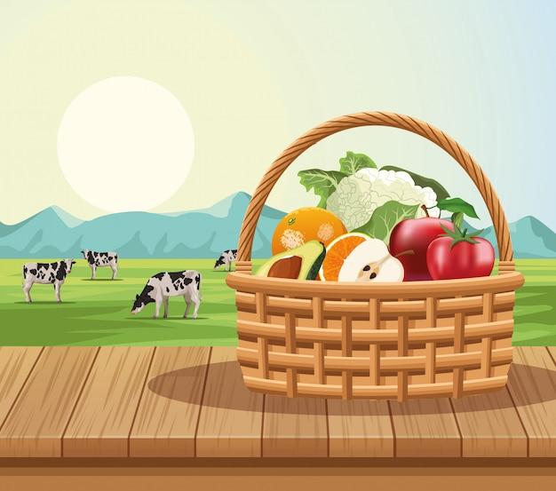 Fruits et légumes dans le panier Vecteur Premium