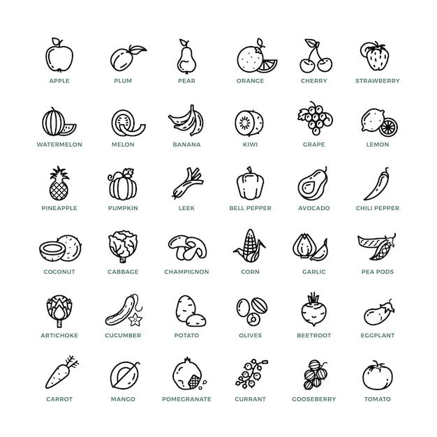 Fruits et légumes décrivent des icônes vectorielles Vecteur Premium