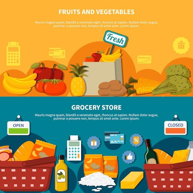 Fruits légumes epicerie supermarché bannières Vecteur gratuit