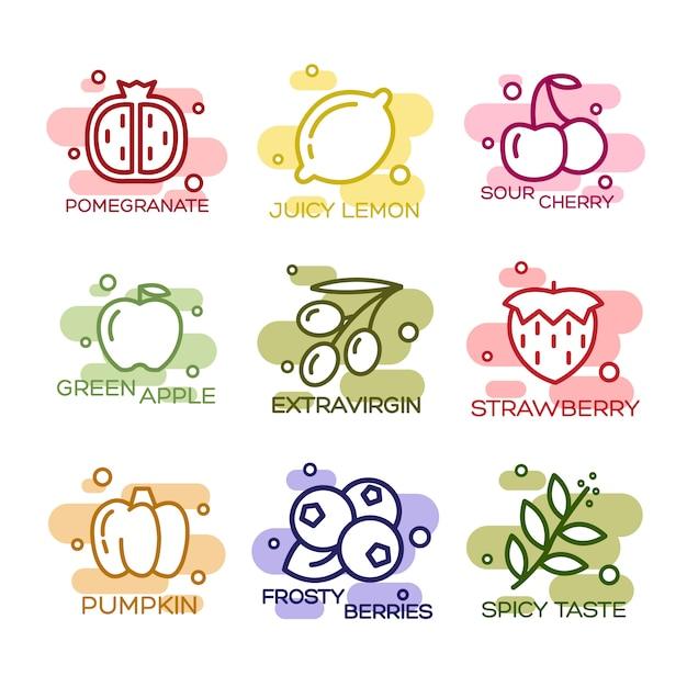 Fruits et légumes ligné icons set Vecteur gratuit