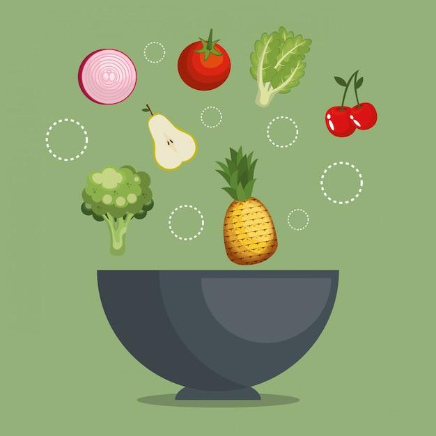 Fruits et légumes nourriture saine Vecteur gratuit