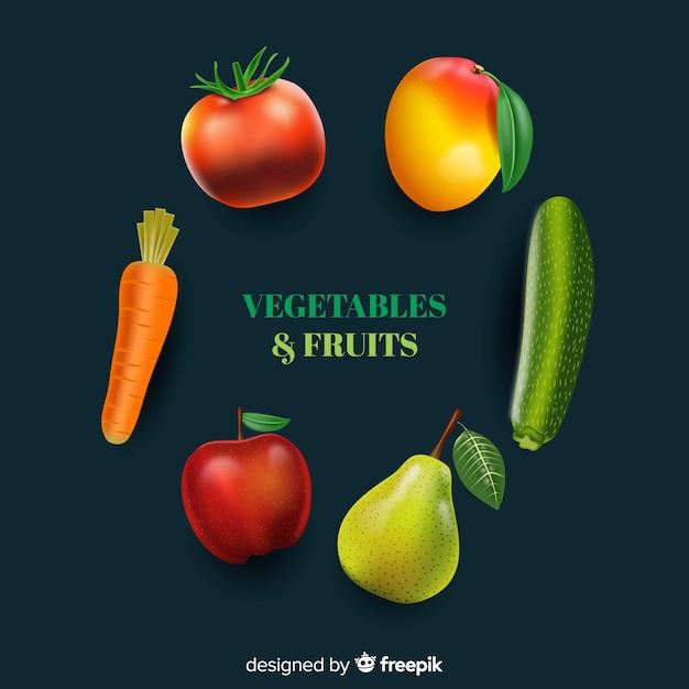 Fruits et légumes réalistes Vecteur gratuit