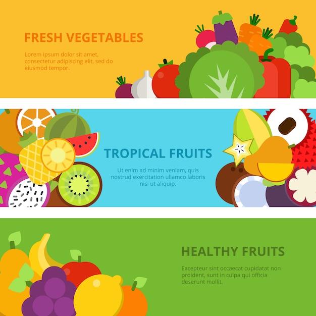 Fruits Et Légumes Sains Vecteur Premium