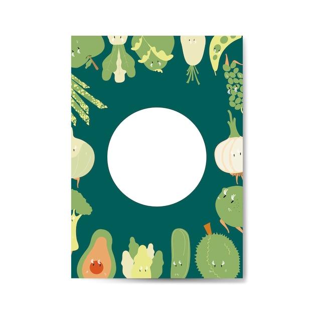 Fruits et légumes verts cartoon vector frame frame Vecteur gratuit