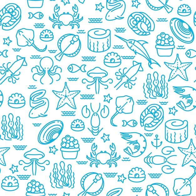 Fruits de mer contour, modèle vectorielle continue de sushi Vecteur Premium