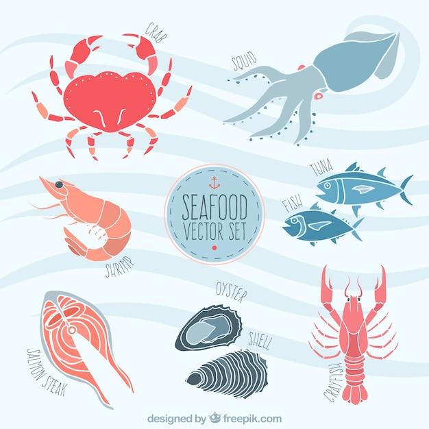 Fruits de mer illustration Vecteur gratuit