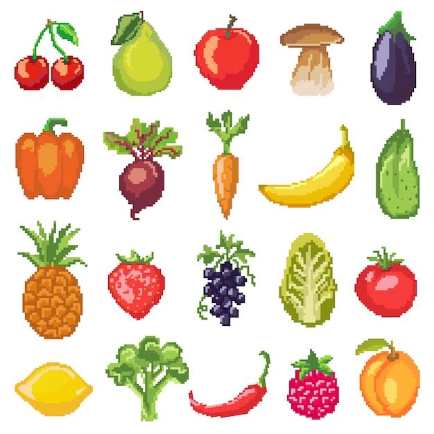 Fruits Pixel Légumes Vecteur Nutrition Saine De Pomme Fruitée Banane Et Carotte Végétale Vecteur Premium
