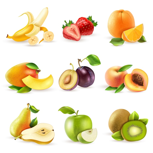 Fruits plats icons set Vecteur gratuit