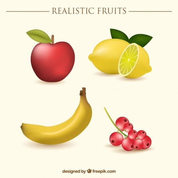 Fruits réalistes avec une pomme et une banane Vecteur gratuit