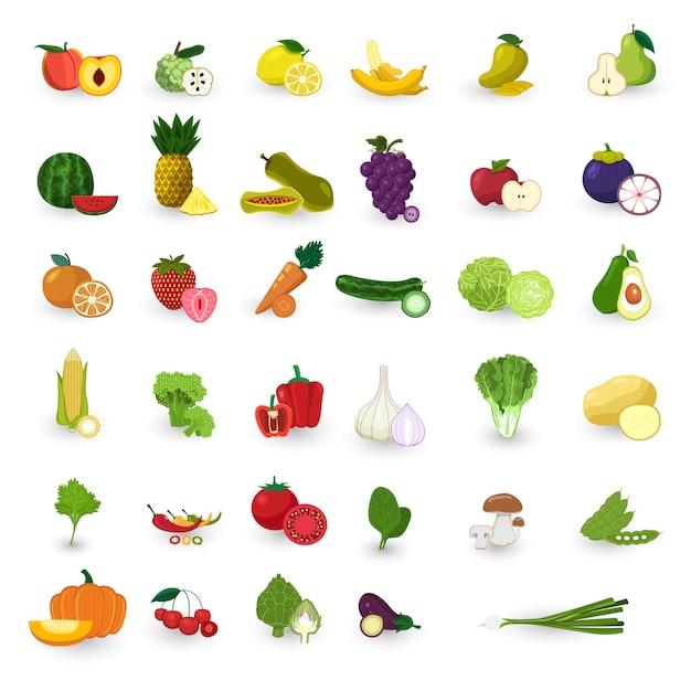 Fruits de style plat et jeu de vecteur de légumes. Vecteur Premium