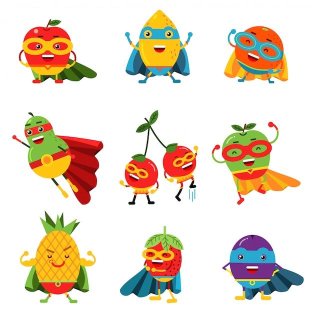 Fruits De Super-héros Dans Différents Costumes Ensemble D'illustrations Colorées Vecteur Premium