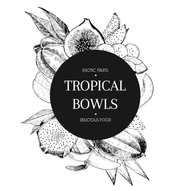 Fruits tropicaux dessinés à la main Vecteur Premium