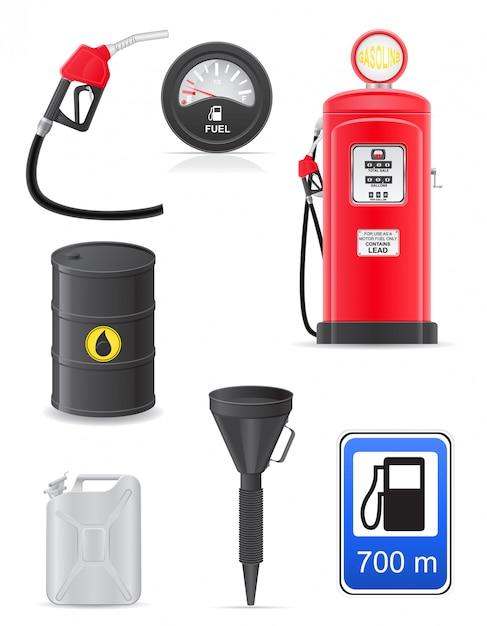 Fuel Set D'icônes. Vecteur Premium