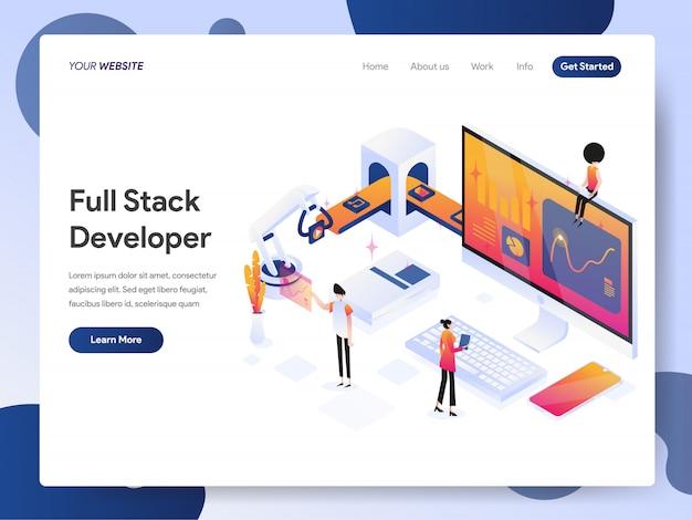 Full stack developer bannière de la page de destination Vecteur Premium