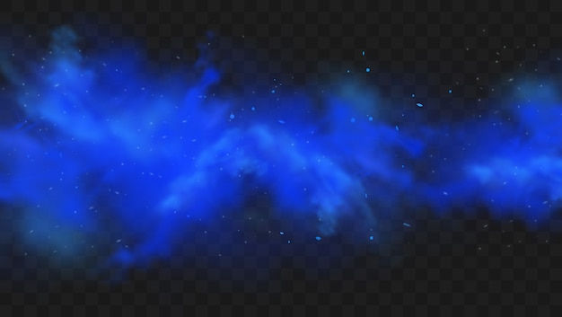 Fumée Bleue Isolée Sur Fond Transparent Foncé. Nuage De Brouillard Magique Bleu Réaliste, Gaz Toxique Chimique, Vagues De Vapeur. Illustration Réaliste. Vecteur Premium
