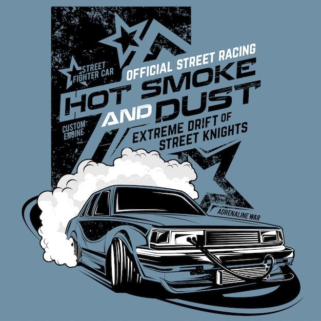 Fumée et poussière chaudes, illustration d'une voiture à la dérive Vecteur Premium
