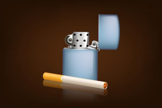 Fumer La Cigarette Et Le Zippo Vecteur Premium