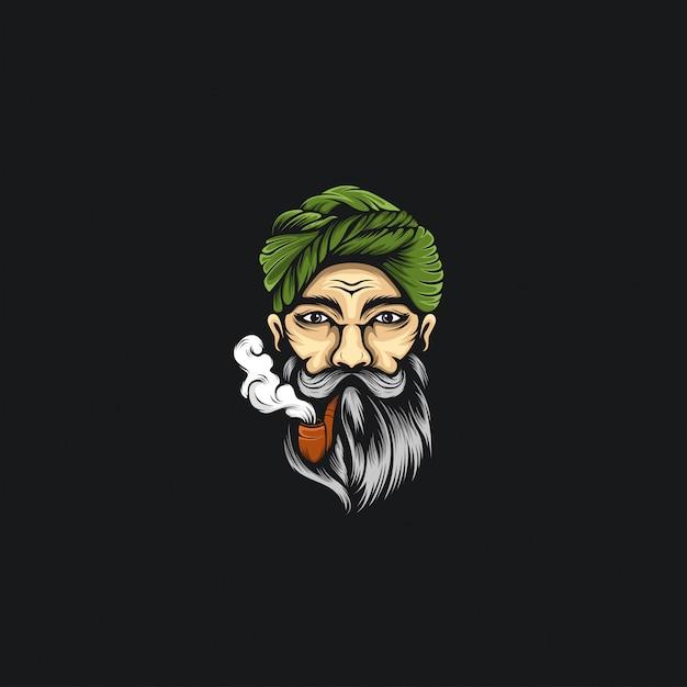 Fumer homme barbe logo ilustrations Vecteur Premium