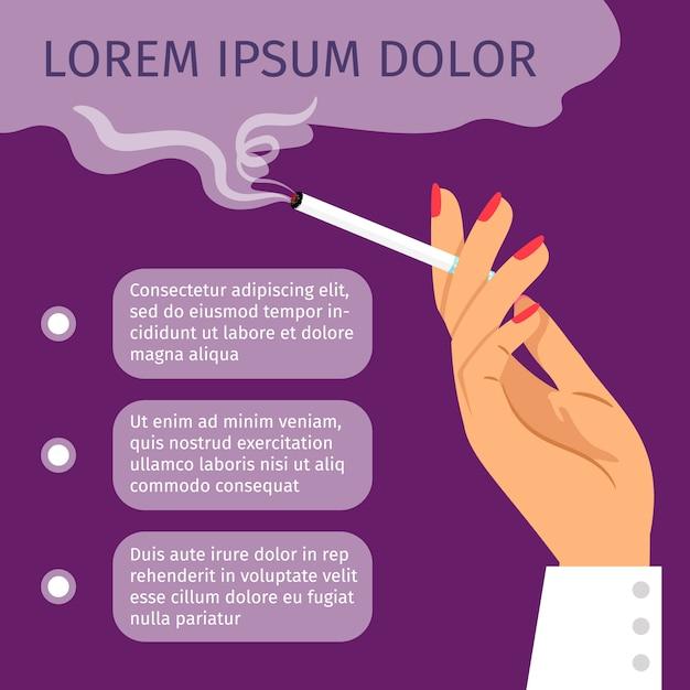Fumeur fille à cigarette Vecteur Premium