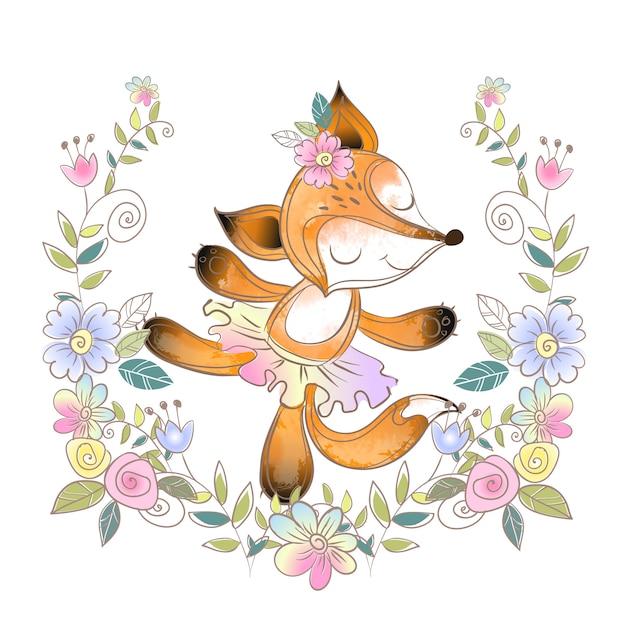Fun ballerine fox dans une gerbe de fleurs Vecteur Premium