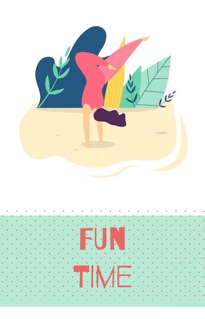 Fun time outdoors loisirs carte de motivation motive Vecteur Premium