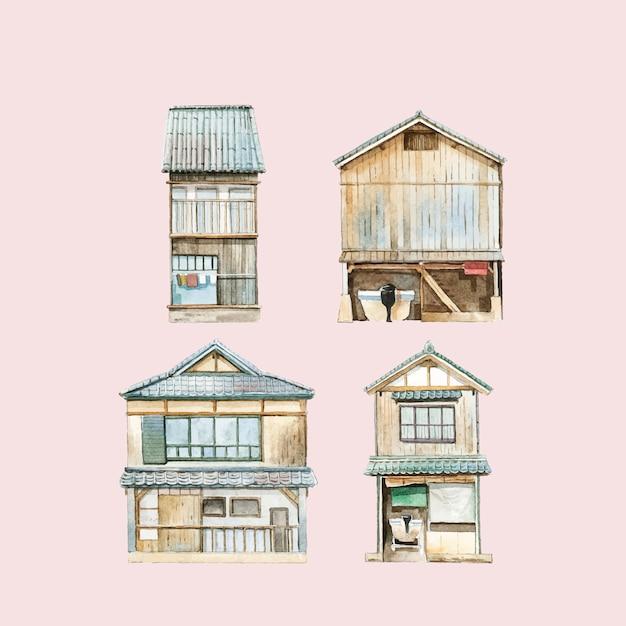 Funaya, Maisons, Vecteur, Japonaise, Préfecture Kyoto Vecteur gratuit