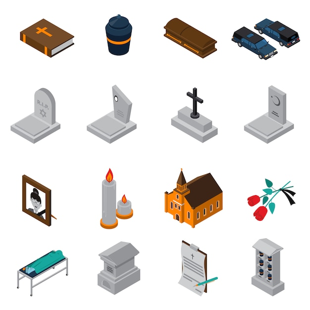 Funeral isometric icons set Vecteur gratuit