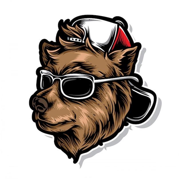 Funky ours avec un chapeau Vecteur Premium