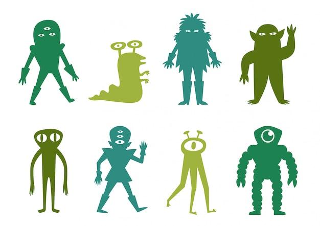 Funny alien pack Vecteur Premium