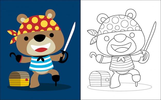 Funny bear cartoon avec costume de pirate Vecteur Premium