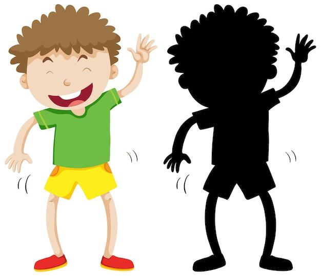 Funny Boy En Couleur Et Silhouette Vecteur gratuit