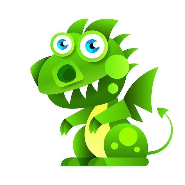 Funny Cartoon Little Green Sitting Dragon. Vecteur Premium
